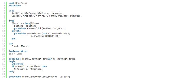 Как сделать возможным передвижение формы если пользователь щелкнул в форму вне заголовка